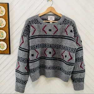 Vintage Worsted Wool Chunky Hand Knit Sweater